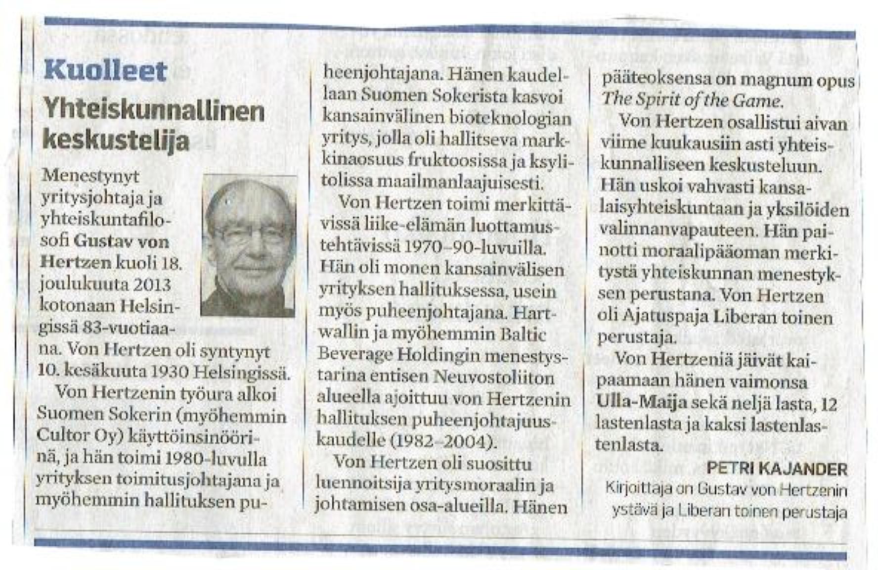Muistokirjoitus Aamulehti 27.12.13